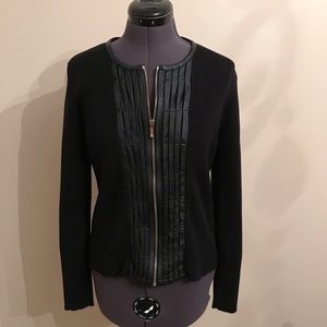 Anne Klein Sweater Jacket with Leather Size Small